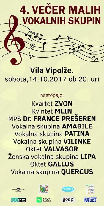 Srečanje malih vokalnih skupin v Vili Vipolže, Brkini