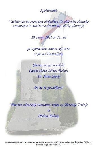 Obeležitev 30. obletnice obrambe samostojne in neodvisne države Republike Slovenije