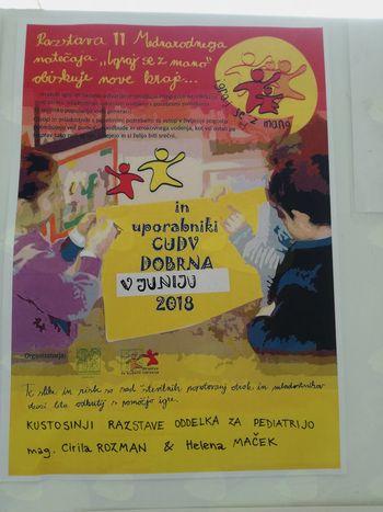 """Razstava 11.Mednarodnega  natečaja""""Igraj se z mano"""" in uporabnikov CUDV Dobrna na ogled v Splošni bolnišnici Slovenj Gradec"""