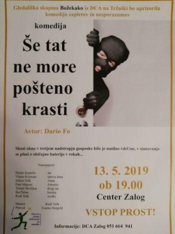 Dramska skupina BOŽEKAKO (DCA Tržaška) spet vabi na urico zabave in smeha v gledališki dvorani DCA Zalog.  VSTOP PROST!