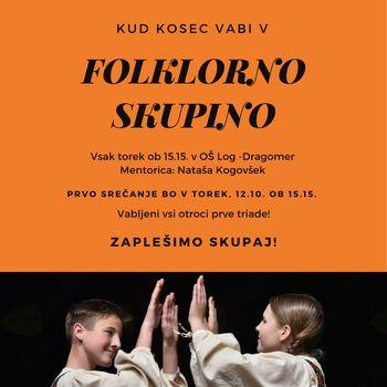 """KUD Kosec vabi otroke prve triade, da se priključijo otroški folklorni skupini """"Nageljček"""""""
