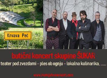 Butični koncert skupine ŠUKAR v zelenem, naravnem teatru pod zvezdami