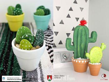 Kaktus v lončku in obisk živali