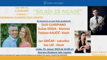 """5. koncert v sklopu Abonmaja """"MLADI ZA MLADE 2018/2019"""""""