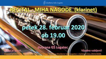 Recital − Miha Nagode, klarinet