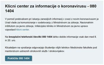 080 1404 - Klicni center za informacije o koronavirusu