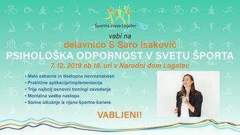 Psihološka odpornost v svetu športa -delavnica s Saro Isakovič