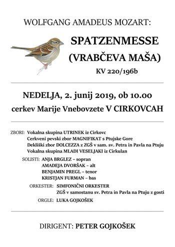 Koncertna maša: Spatzenmesse (Vrabčeva maša), skladatelj Wolfang Amadeus Mozart