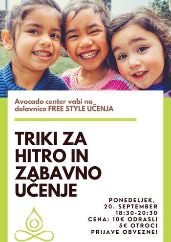 Delavnica: TRIKI ZA HITRO IN ZABAVNO UČENJE z Mojco Stojkovič (Free Style učenje)