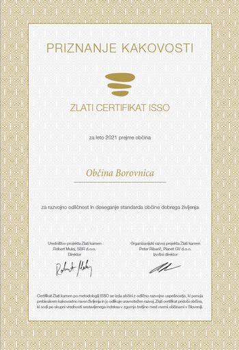 Občina je tudi letos prejela zlati ISSO certifikat razvojne odličnosti