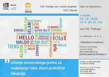 Delavnica VGC: Učenje slovenskega jezika za vsakdanjo rabo