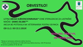 Sterilizacija lastniških muc v občini Sevnica, cena 29,50 €