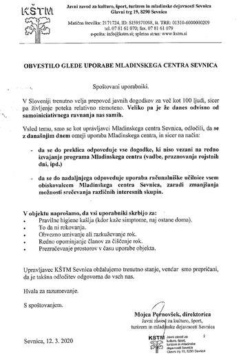 OBVESTILO OBISKOVALCEM   MLADINSKEGA  CENTRA SEVNICA