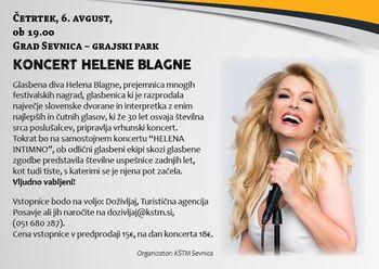 SEVNIŠKO GRAJSKO POLETJE 2020 - koncert Helene Blagne