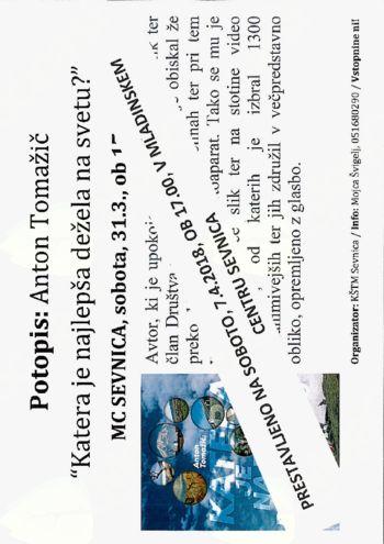 Potopisno predavanje Antona Tomažiča prestavljeno na april