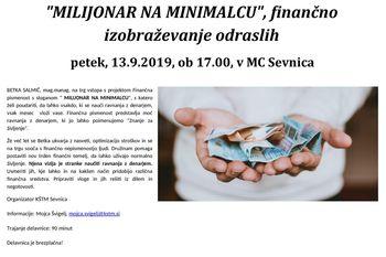 """""""Milijonar na minimalcu"""", finančno izobraževanje odraslih"""