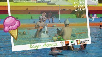 Zabava in kopanje združena v eno na sevniškem bazenu