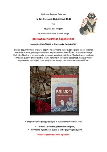 Predstavitev knjige BRINKO in ena kraška dogodivščina na Gočah
