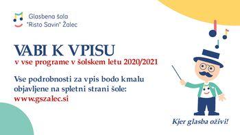 Glasbena šola Risto Savin Žalec vabi k vpisu v vse programe v šolskem letu 2020 /2021