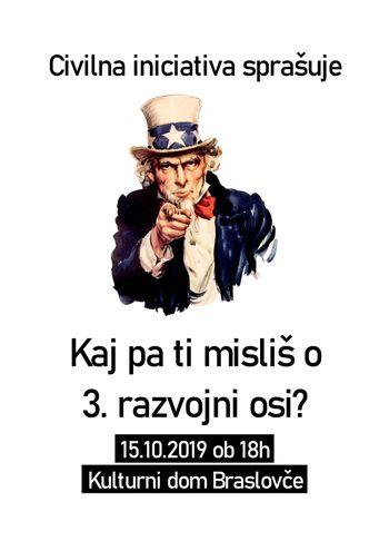 """""""KAJ PA TI MISLIŠ O 3. RAZVOJNI OSI?"""" v torek,15.10.2019ob 18.00 uri v Kulturnem domu Braslovče"""