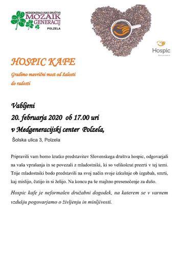 Hospic Cafe - četrtek, 20. februar 2020, ob 17. uri