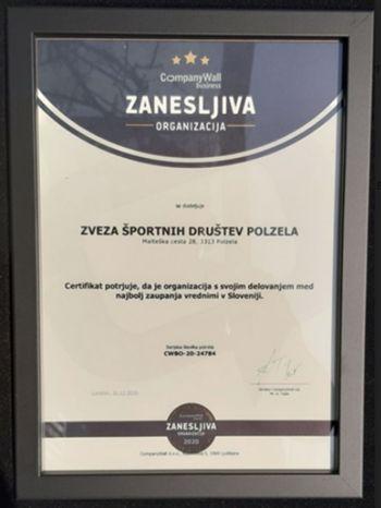 Certifikat Zvezi športnih društev Polzela