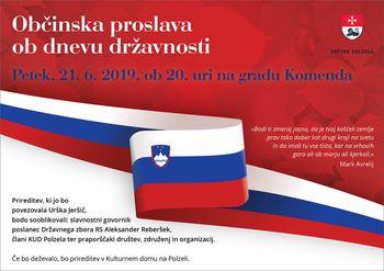Občinska proslava ob dnevu državnosti, v petek, 21. 6. 2019 ob 20. uri na gradu Komenda