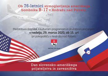 Dan slovensko-ameriškega prijateljstva in zavezništva PRESTAVLJEN NA KASNEJŠI TERMIN