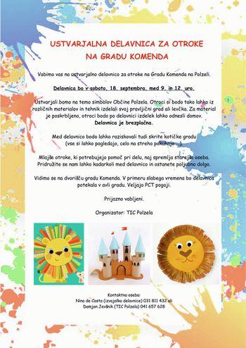 Ustvarjalna delavnica za otroke na gradu Komenda