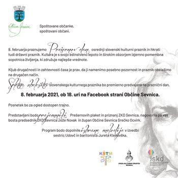 Spletna obeležitev slovenskega kulturnega praznika