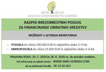 Obvestilo o tekočih javnih razpisih Sklada za pridobitev brezobrestnih posojil za financiranje obratnih sredstev