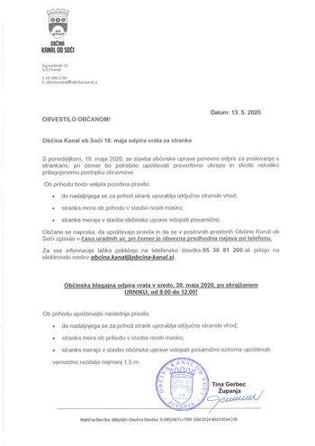 Občina Kanal ob Soči 18. maja odpira vrata za stranke