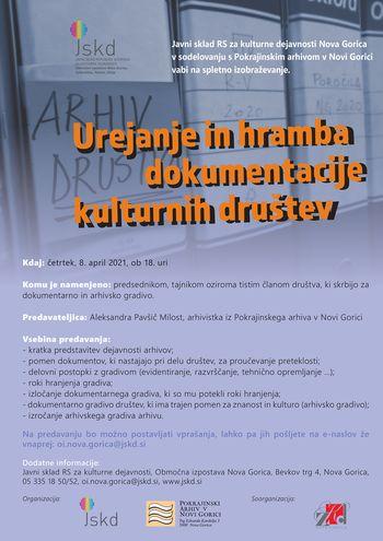 Spletno predavanje - urejanje in hramba dokumentacije kulturnih društev
