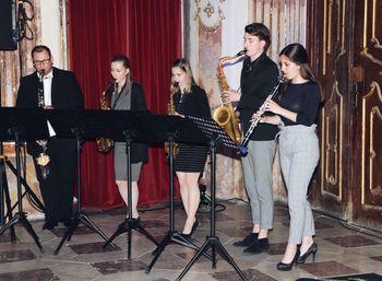 Odprtje razstave v Dvorcu Novo Celje s Kvintetom Sakstet