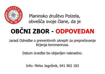 Odpovedan Občni zbor članov PD Polzela