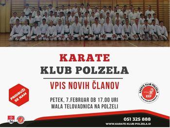 Vpis novih članov v karate klub Polzela
