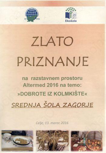 Zlato priznanje Ekošoli Srednje šole Zagorje na sejmu Altermed 2016