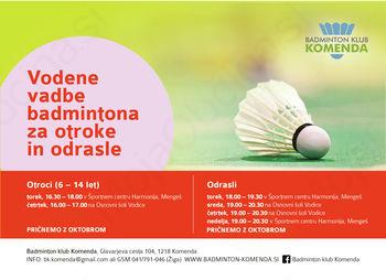Prijava na novo badminton sezono za otroke in odrasle