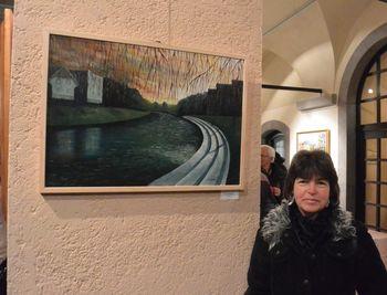 Irena Gorenc in Lojze Burja na razstavi v Mestni hiši v Ljubljani