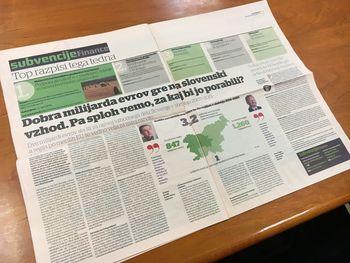 Prispevek objavljen v dnevniku Finance: Dobra milijarda evrov gre na slovenski vzhod. Pa sploh vemo, za kaj bi jo porabili?