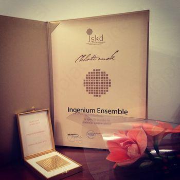 Skupina INGENIUM ENSEMBLE prejela ZLATI ZNAK za izjemne dosežke na področju vokalne glasbe