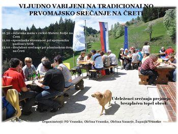 Tradicionalno prvomajsko srečanje na Čreti
