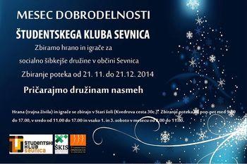 Mesec dobrodelnosti Študentskega kluba Sevnica