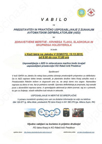 Predstavitev in praktično usposabljanje z zunanjim avtomatskim defibrilatorjem