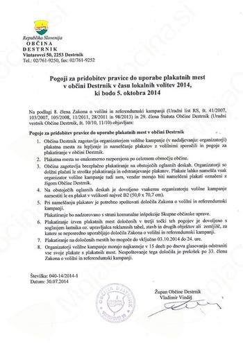 Pogoji za pridobitev pravice do uporabe plakatnih mest v Občini Destrnik - Lokalne volitve 2014