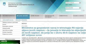 Ministrstvo za gospodarski razvoj in tehnologijo RS najavilo objavo javnih razpisov – na voljo 457 milijonov evrov