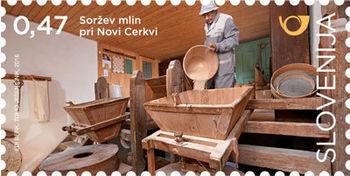 Med poštnimi znamkami Mlini na Slovenskem Pošte Slovenije tudi Soržev Mlin iz Polž pri Novi Cerkvi