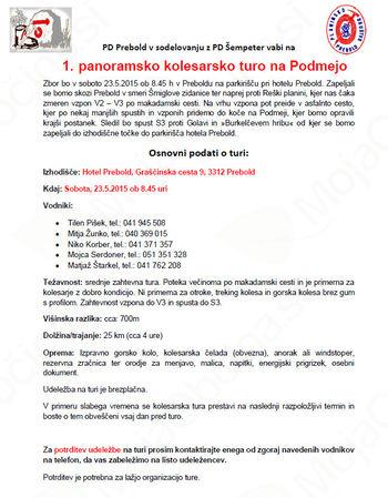 1. Panoramska kolesarska tura na Podmejo - ODPOVEDANO
