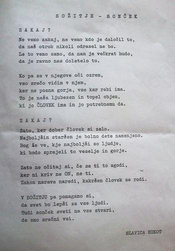 SOŽITJE - SONČEK