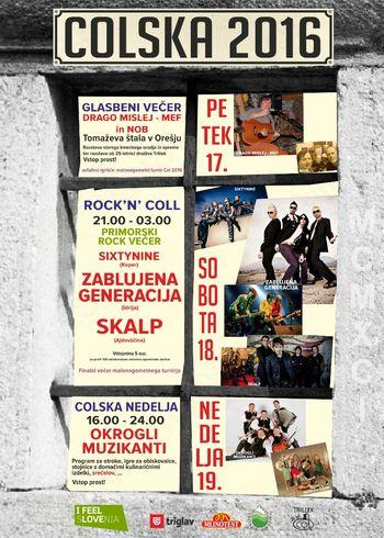Program prireditve Colska 2016